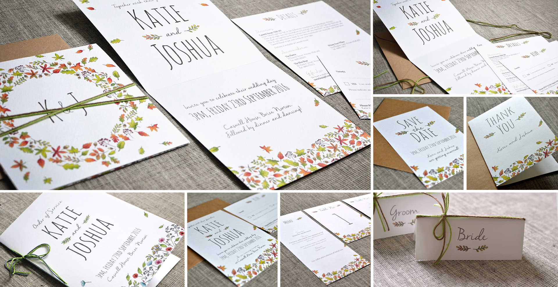 Autumn wedding invitation and stationery - Autumn Leaves design