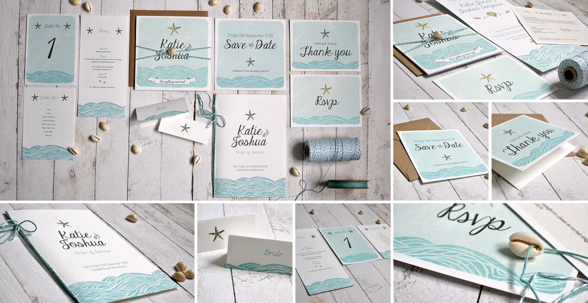 Beach wedding invitation and stationery