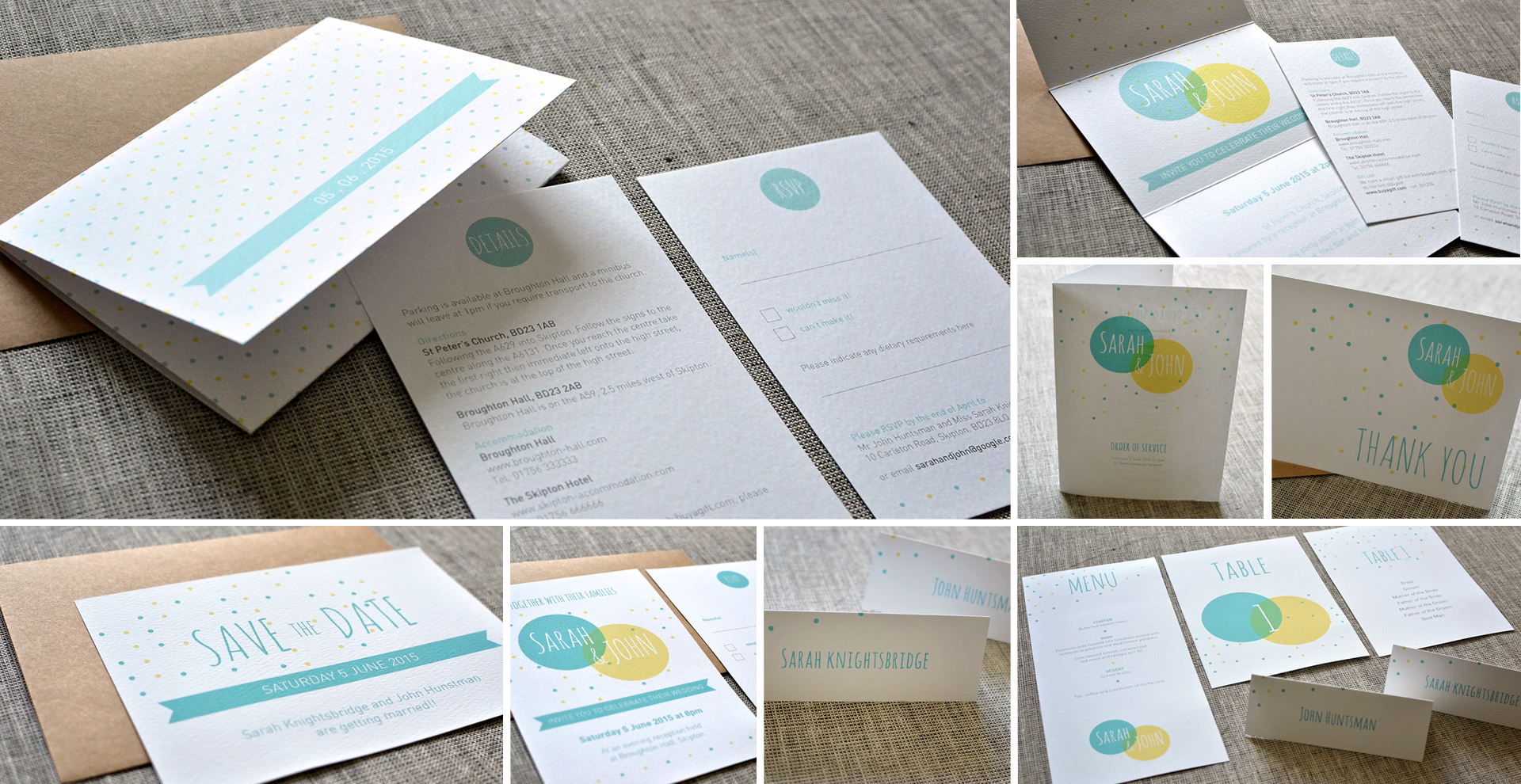 Spotty wedding invitation and stationery