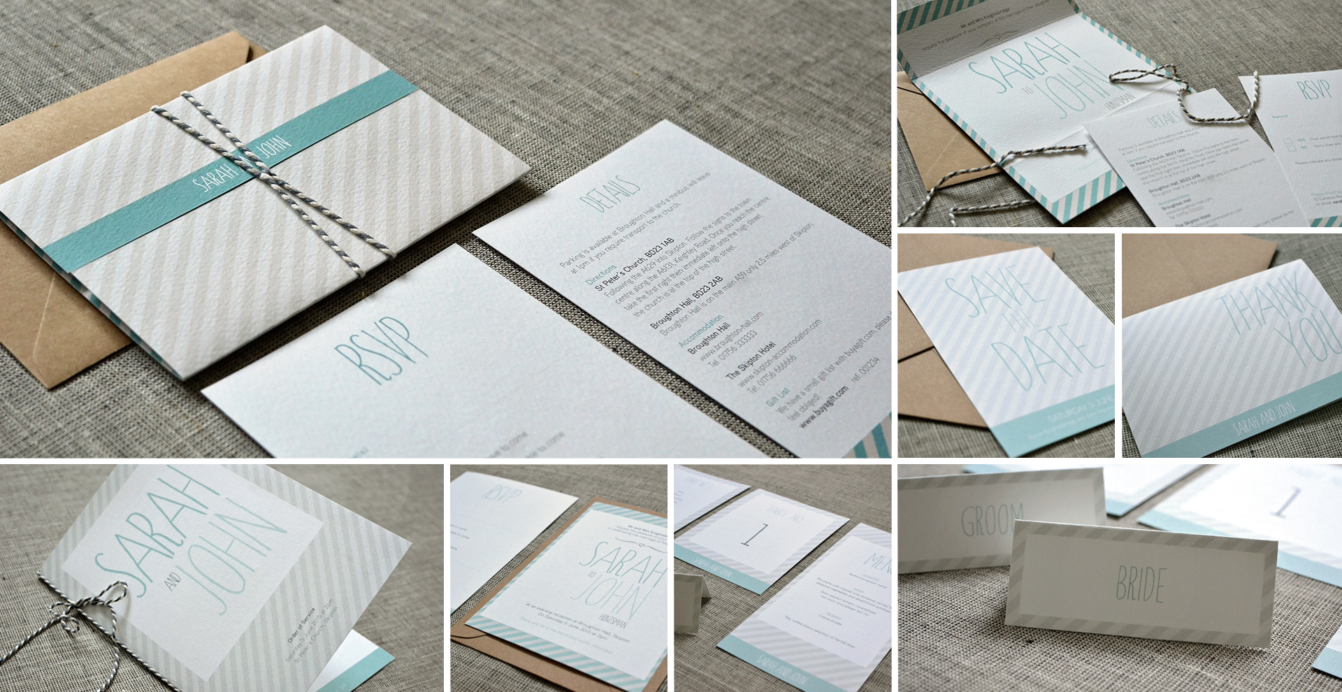 Striped wedding invitation and stationery