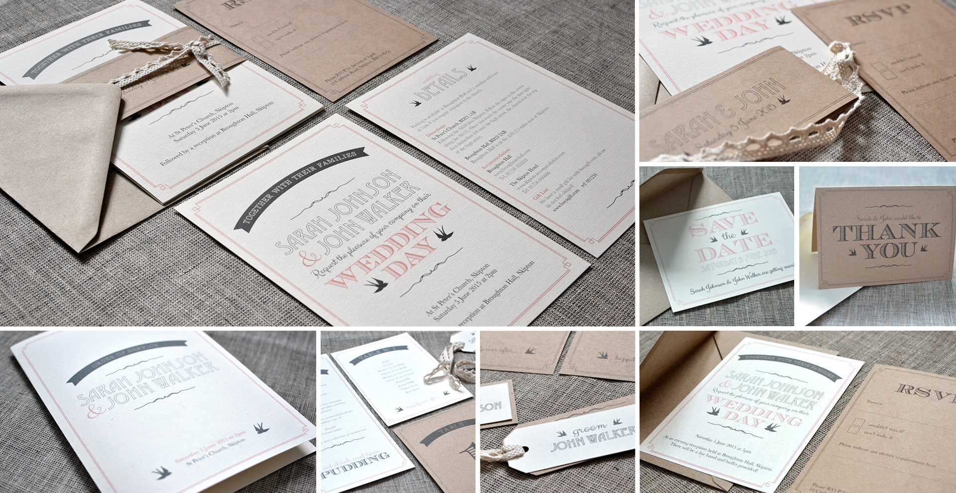 Rustic wedding invitation and stationery