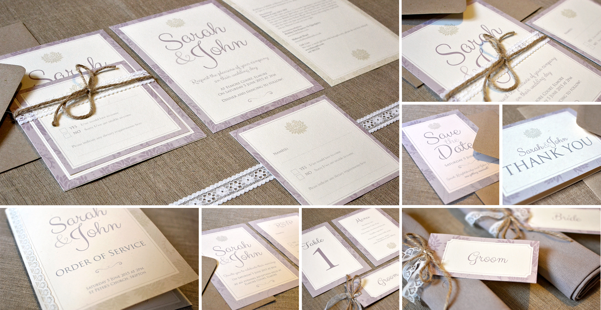Vintage wedding invitation and stationery