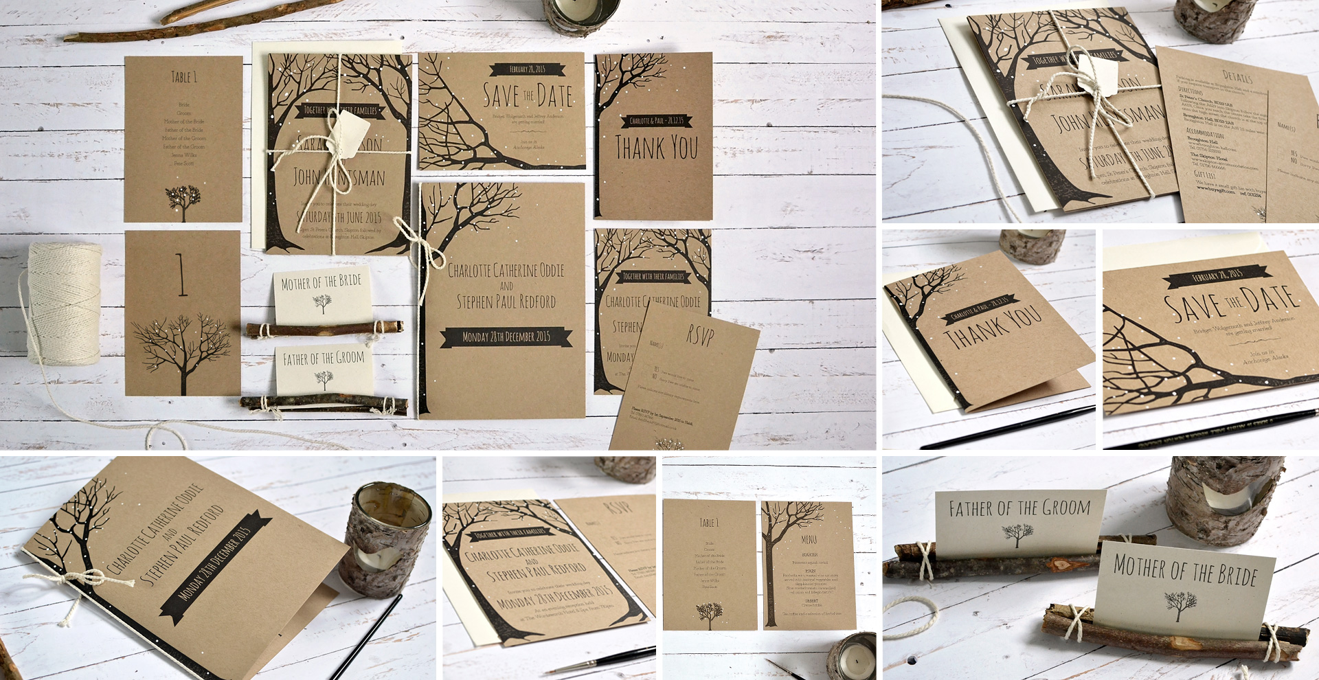 Winter rustic wedding invitation and stationery
